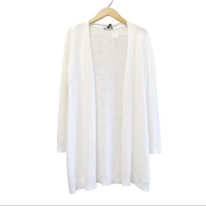 NWT // Eileen Fisher Natural Linen Long White Cardigan